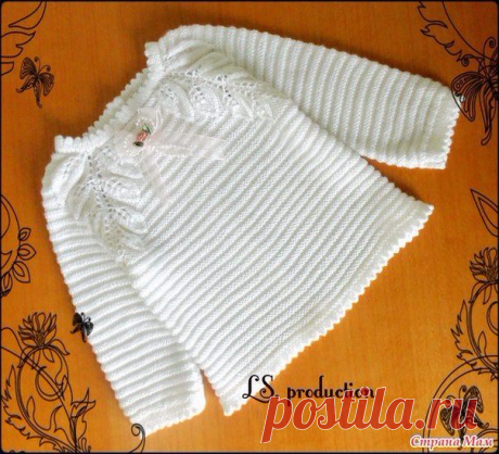>Белая кофточка спицами для девочки 3-6 месяцев