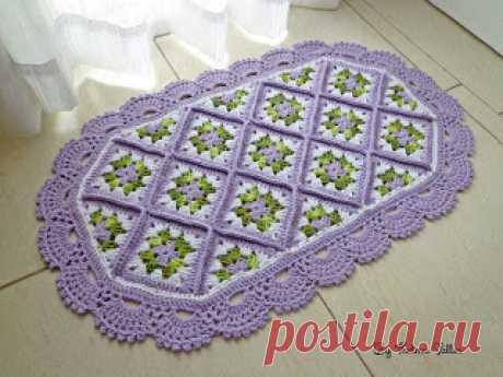 Thelma Salles ღ Artesanatos: Tapete square floral com gráfico e esquema