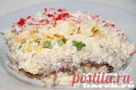 Салат с крабовыми палочками и сайрой |  Харч.ру  - рецепты для любителей вкусно поесть