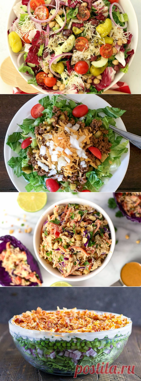 Tasty salads on a New Year's table 2018