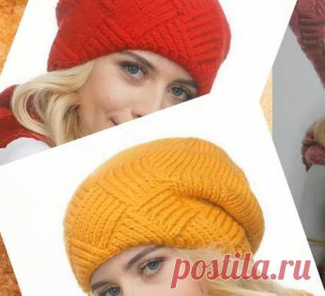 Как связать модную шапку спицами имитацией энтрелак