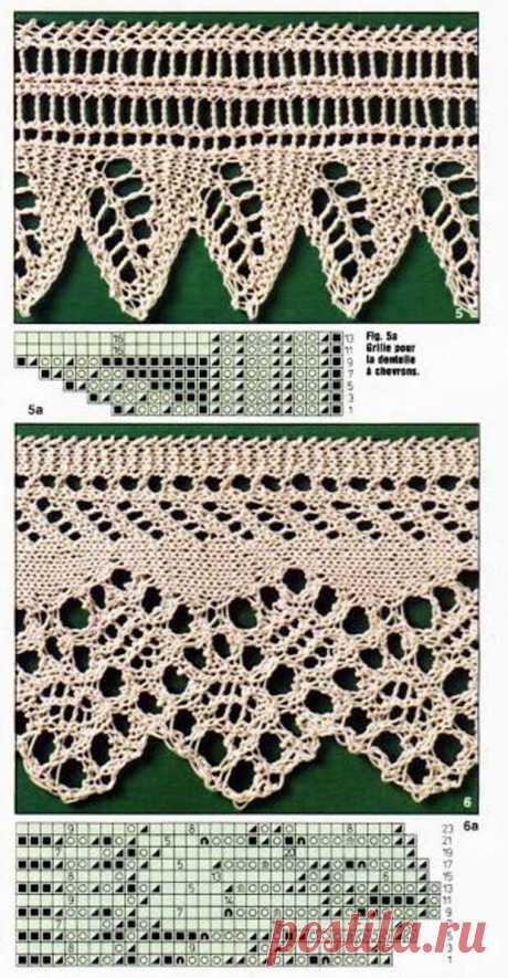 Красивая ажурная кайма, связанная спицами: схемы… - Подружки - медиаплатформа МирТесен Красивая ажурная кайма, связанная спицами: схемы. Чтобы придать работе завершенный вид и зафиксировать форму кромок, можно оформить край полотна красивой каймой. Её можно связать как отдельно, так и по краю изделия. Спицами можно создавать разнообразные красивые ажурные узоры, которые будут