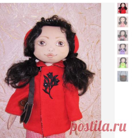 Купить Текстильная авторская игровая кукла Марийка - ярко-красный, кукла ручной работы