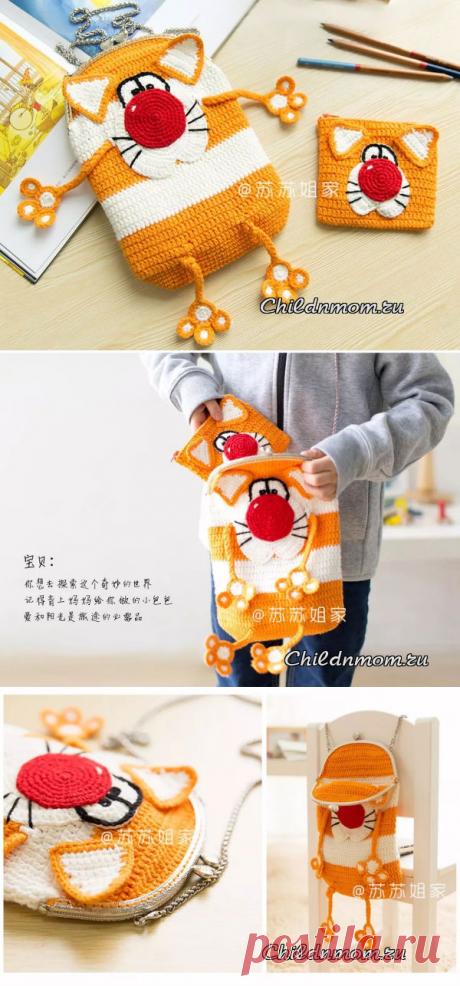 Детская сумка кот крючком: схема, кошелек кот крючком схема | Ребенок и Мама - подробные схемы вязания