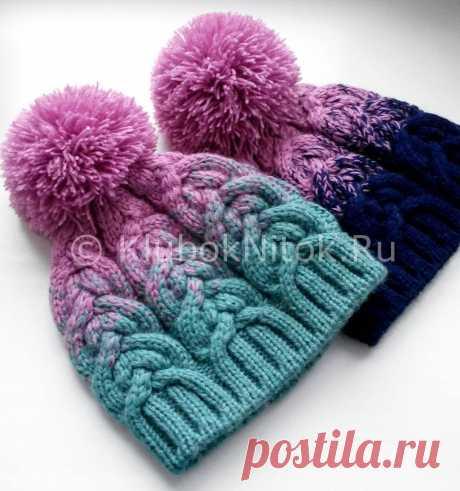 Шапочки с красивыми косами | Вязание для девочек | Вязание спицами и крючком. Схемы вязания.