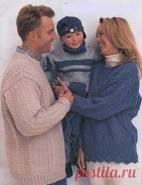 Пуловеры для семьи. | Пуловер, свитер, жакет. Пуловеры для семьи. Пуловеры для семьи. Пуловеры для папы, мамы и сына. Прекрасное трио для семьи. Подробное описание вязания пуловеров. Осенне-весеняя одежда.