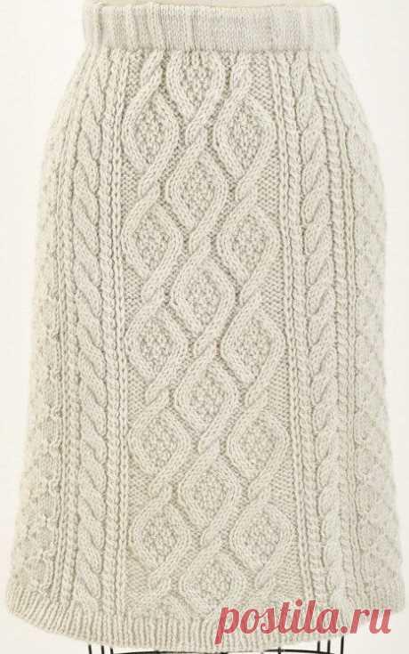 Вязаная юбка с переплетенными косами для холодной погоды!