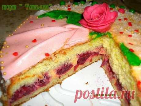 """""""Татьяна&quot cake; with cherry."""