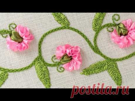 DIY Flowers on Clothes, Stitching Ideas with Ribbons by Hand