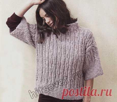 Модный вязаный свитер с рукавами три четверти - Хитсовет