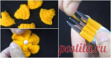 Оригинальные цветы, созданные при помощи вилки ...