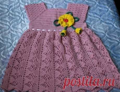 Милое платье для девочки из категории Интересные идеи – Вязаные идеи, идеи для вязания