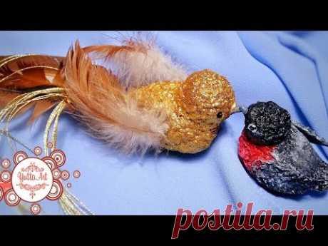 Новогодние птички из папье маше. Как сделать папье маше? Украшение на елку - YouTube