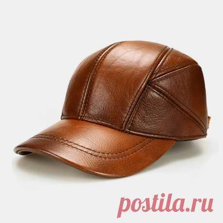Men Genuine Leather Adjustable Round Top Ear Protection Large Brim Keep Warm Bas - US$33.99