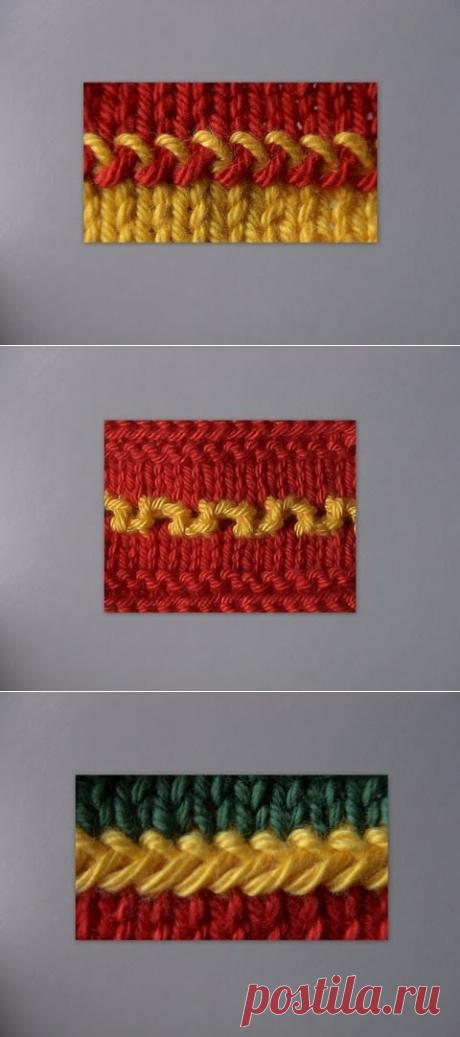 Приемы соединения цветов на вязаном полотне, а также разных полотен — Рукоделие