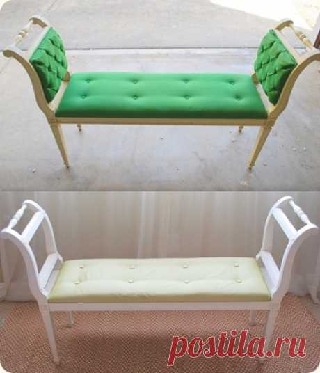 Что сделать из старых стульев Как минимум, их должно быть два. Ну и, конечно, составляющие для мягкого сиденья и обивки  2. Вариант скамейки для кухни или балкона  Тут даже самостоятельные или первые опыты чеканки использованы   3…