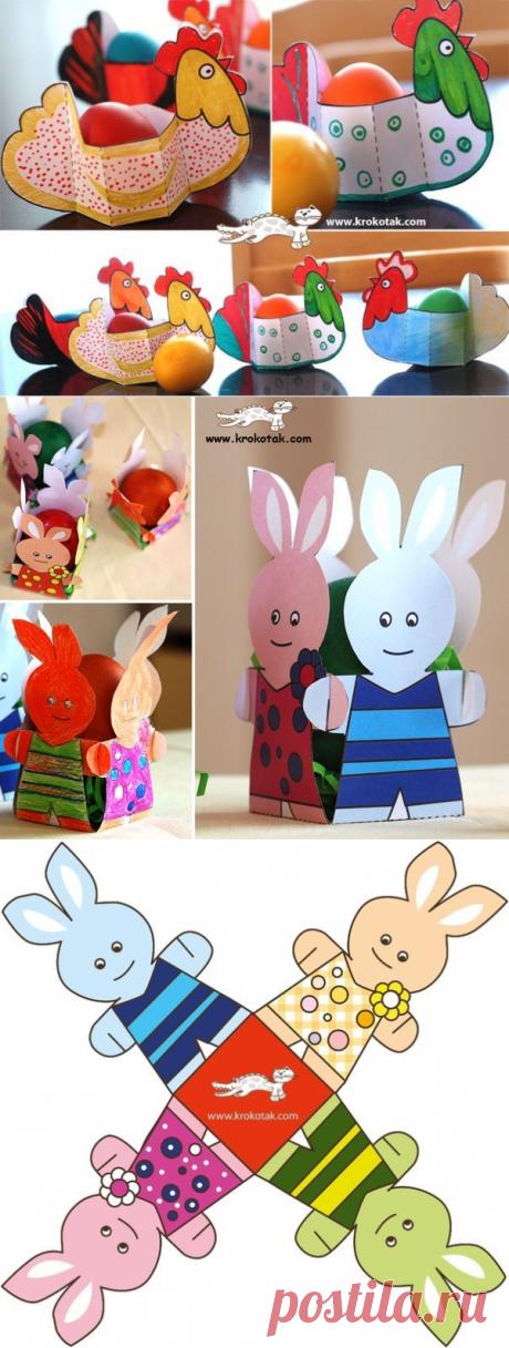 Забавные детские поделки из бумаги с шаблонами к Пасхе