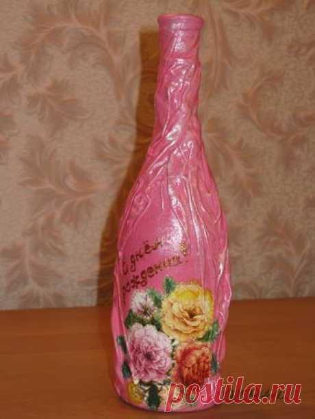 Декупаж - Мастер-класс по декору подарочной бутылки - подарочная бутылка » Поиск мастер классов, поделок своими руками и рукоделия на SearchMasterclass.Net