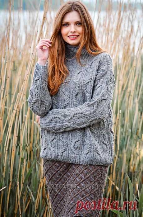 Светло-серый пуловер с косами и двухцветная юбка спицами — Shpulya.com - схемы с описанием для вязания спицами и крючком