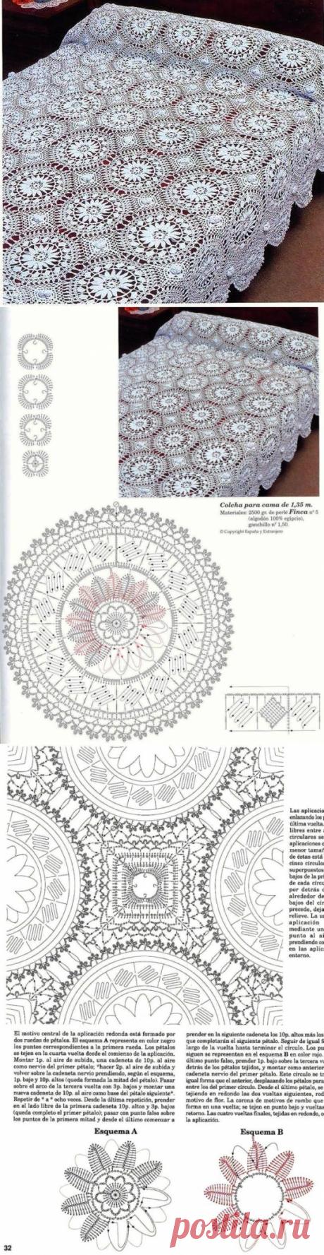 Красивое покрывало из круглых мотивов. Как связать ажурный плед крючком |