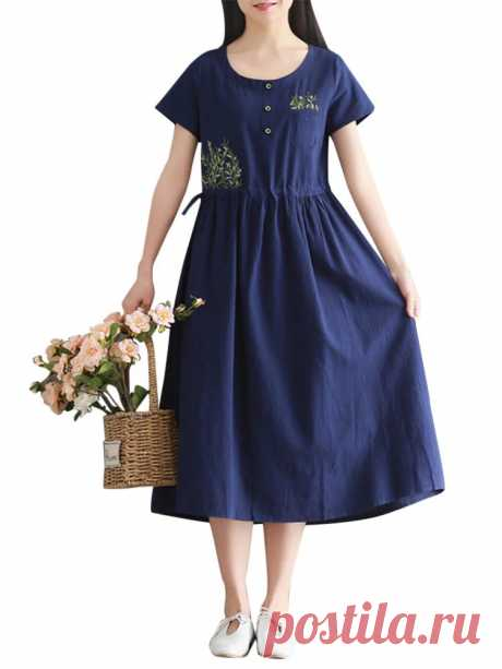 Women Short Sleeve Embroidery O-neck Button Dresses - US$20.99