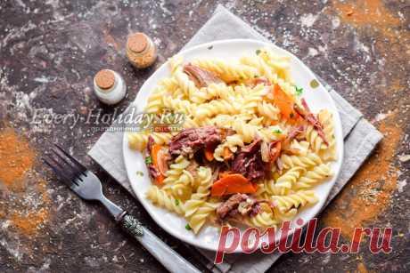 Макароны с тушенкой, рецепт с фото пошагово