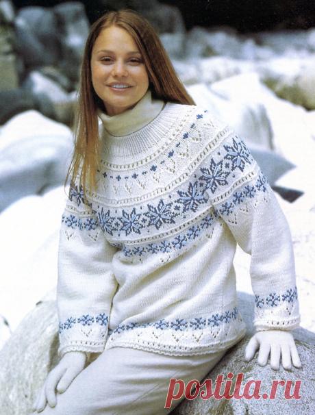 Жаккардовые пуловеры с круглой кокеткой спицами | Рукоделие