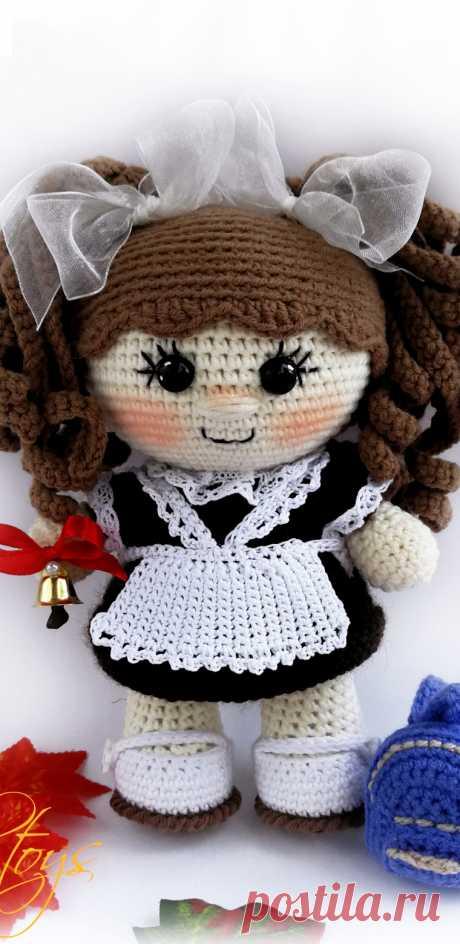 PDF Пупс Школьница крючком. FREE crochet pattern; Аmigurumi doll patterns. Амигуруми схемы и описания на русском. Вязаные игрушки и поделки своими руками #amimore - Кукла, пупс.