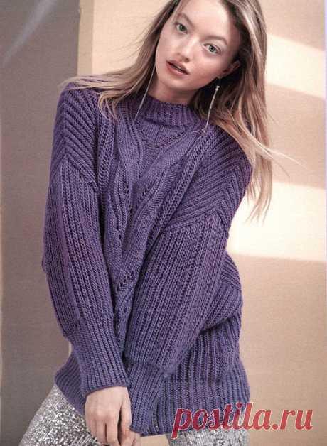 Объемный пуловер с центральной кокеткой