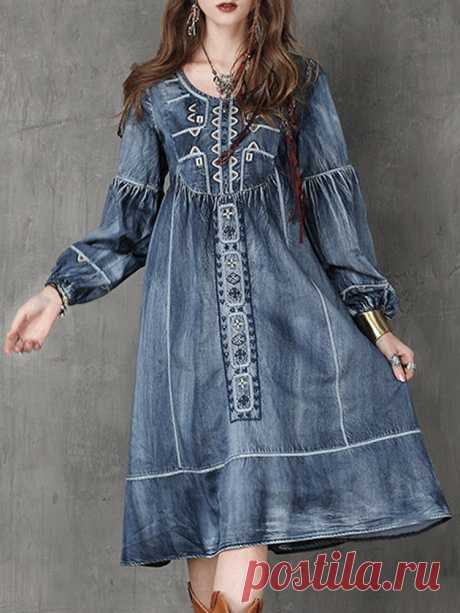 Elegant Embroidery O-neck Long Sleeve Women Denim Dresses Your friend shared a fashion website for you and give you $60 coupons! Claim it now.
