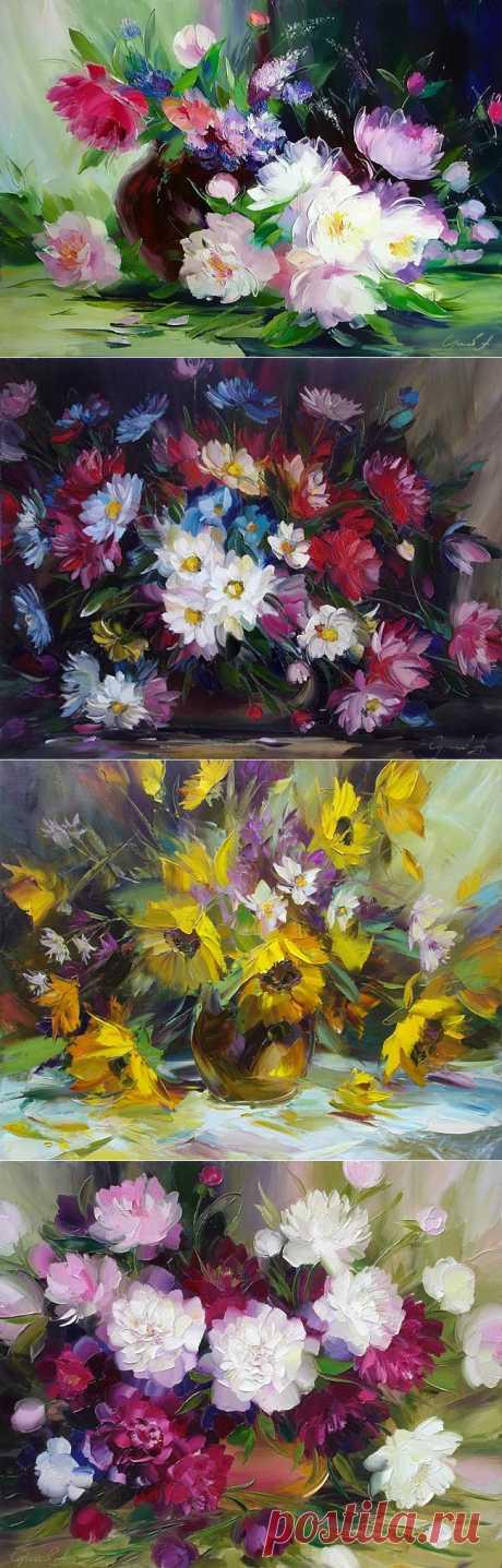 Теплые разноцветные работы А.Сергеева.