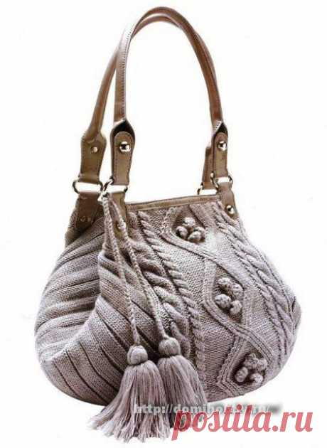 Вязание модной сумки спицами