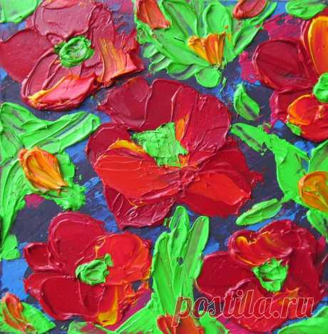 Poppies Oil Painting Gift Small Floral Original Art Impasto   Etsy