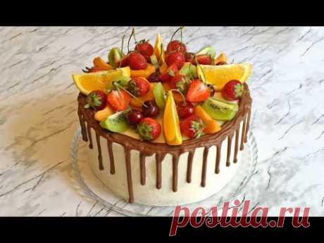 """Торт """"Экзотика"""" / Cake """"Exotica"""" / Торт с Фруктами / Бисквитный Торт / Торт на День Рождения"""