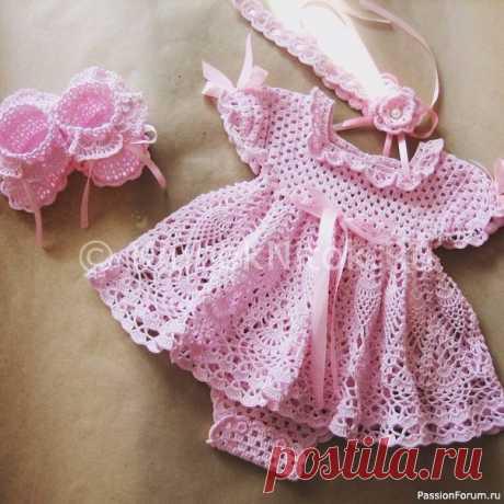 Платье-боди для новорожденной девочки. Схемы и выкройка | Детская одежда крючком. Схемы