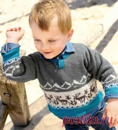 Пуловер с оленями - схема вязания спицами. Вяжем Пуловеры на Verena.ru