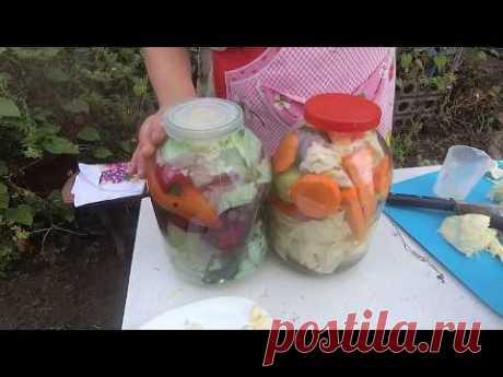 Капуста квашеная кусками с зелеными помидорами, АССОРТИ.