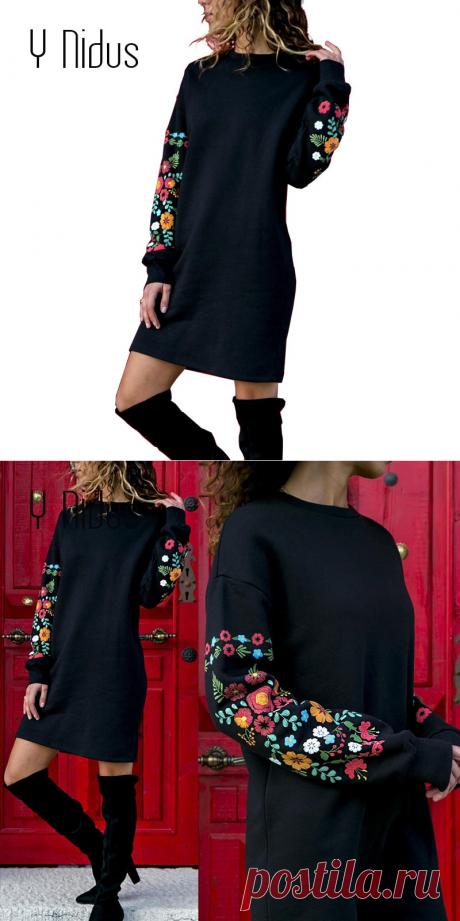 Y очага платья Для женщин зимнее мини платье элегантный Цветочный принт с длинным рукавом o образным вырезом Свободные теплое платье черный уличная одежда vestido 2018 купить на AliExpress