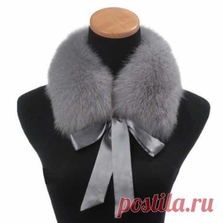 Amazon.com: Ferrand New Real Genuine Fox Fur Collar Scarf Shawl Wrap Neck Warmer LF05 Light Grey: Clothing