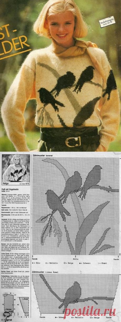 Вязание.Жаккард.Птицы.