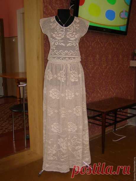 """Купить платье""""Филейная роза"""" - бежевый, цветочный, платье  Купить платье""""Филейная роза"""" - бежевый, цветочный, платье вечернее, крючком, филейное вязание, 100% хлопок"""