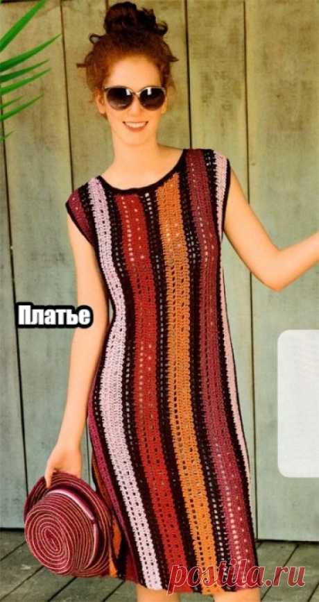 Эффектное платье, связанное крючком поперёк. / Вязаные идеи, идеи для вязания