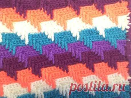 Вязание 3D узора оборотными рядами/Knitting 3D pattern in reverse rows