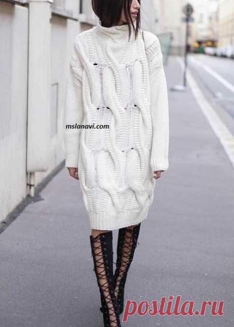 Молодежное вязаное платье со жгутами - Вяжем с Лана Ви