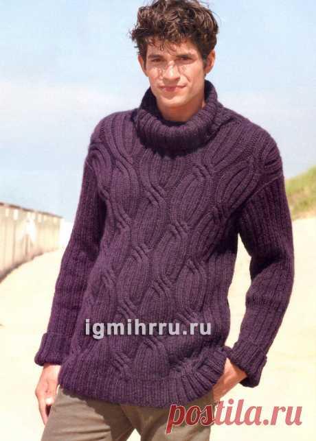 Мужской шерстяной свитер из «кос» и резинки. Вязание спицами