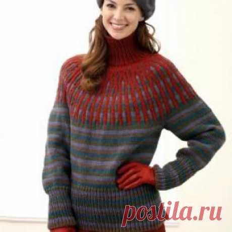 Вязание свитер со спущенными плечами