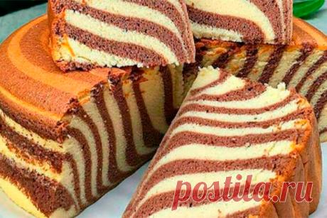 Пышный, воздушный, яркий манник «Зебра»: шикарен и на вид, и на вкус! Рецепты пирогов на манной крупе давно полюбились хозяйкам. Выпечка получается высокой, пышной, рассыпчатой — натуральный бисквит! А вот танцев с бубном