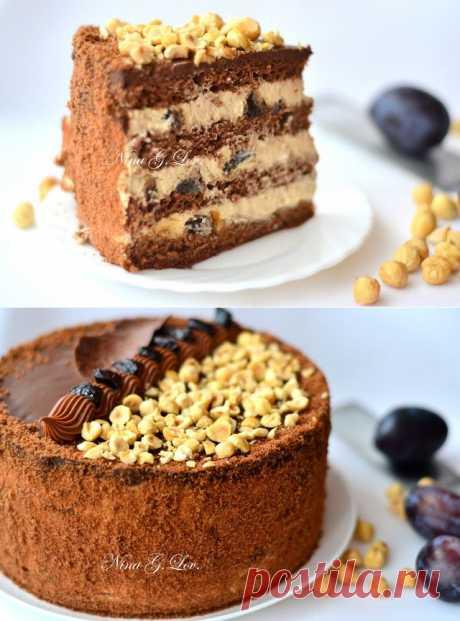 """With love, taste and beauty... : Шоколадный торт с """"пьяным"""" черносливом и карамельно-сливочным кремом"""