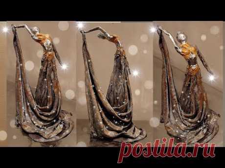 #diycrafts EMPTY BOTTLE INTO BEAUTIFUL SCULPTURE OF LADY|| ROOM DECOR IDEA: