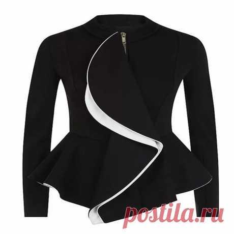 Женское короткое приталенное пальто Brieuces, готическая Черная куртка на молнии с оборками и баской, модный осенний костюм |women ruffles | fashion women women fashion